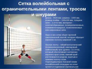 Сетка волейбольная с ограничительными лентами, тросом и шнурами Длина - 9500
