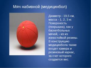 Мяч набивной (медицинбол) Диаметр - 19,5 см, масса - 1, 2, 3 кг. Поверхность