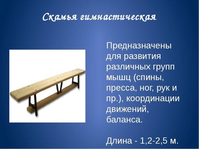 Скамья гимнастическая Предназначены для развития различных групп мышц (спины,...