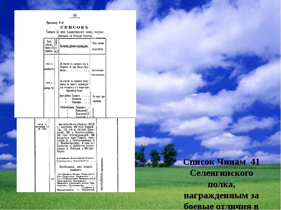 Список Чинам 41 Селенгинского полка, награжденным за боевые отличия в Отечес...