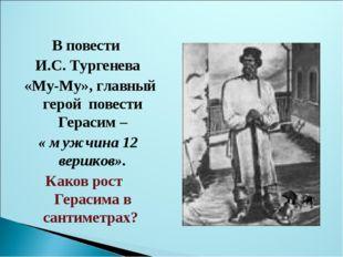 В повести И.С. Тургенева «Му-Му», главный герой повести Герасим – « мужчина
