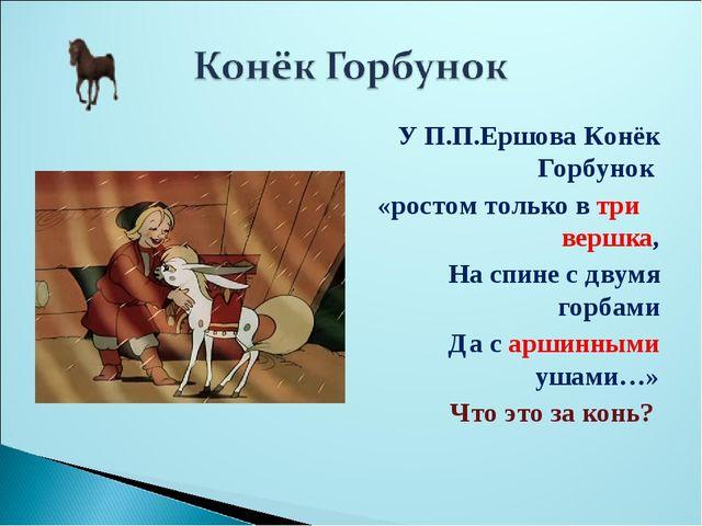 У П.П.Ершова Конёк Горбунок «ростом только в три вершка, На спине с двумя гор...
