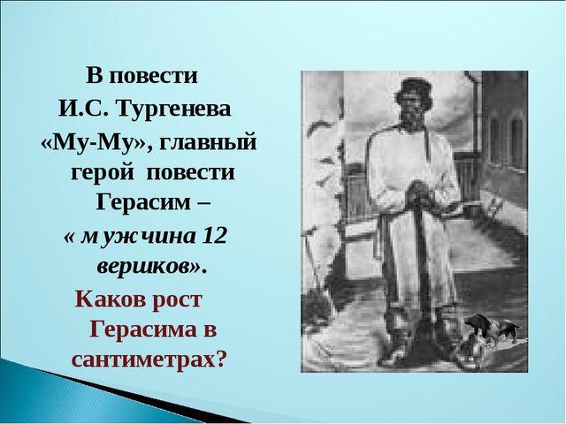 В повести И.С. Тургенева «Му-Му», главный герой повести Герасим – « мужчина...