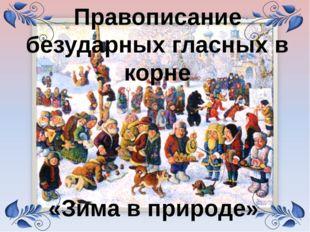 «Зима в природе» Правописание безударных гласных в корне