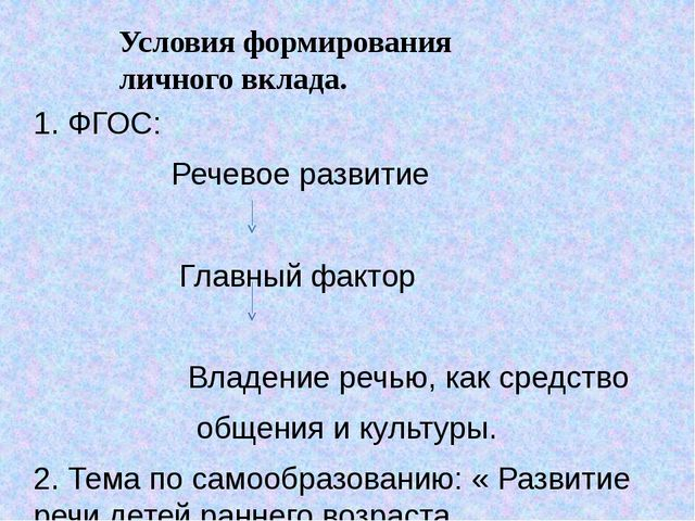 1. ФГОС: Речевое развитие Главный фактор Владение речью, как средство общения...