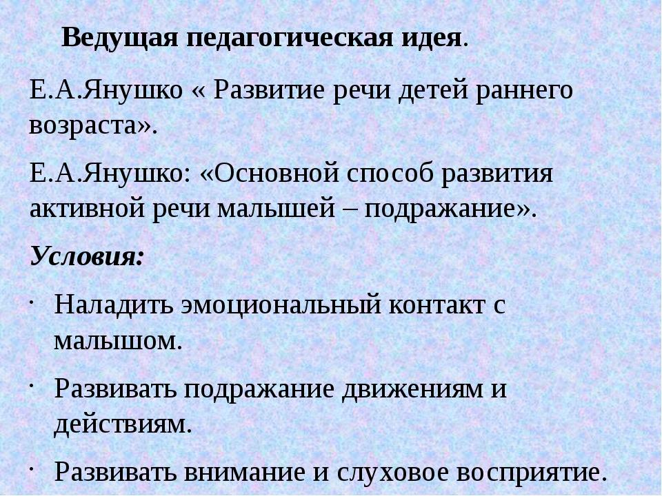 Е.А.Янушко « Развитие речи детей раннего возраста». Е.А.Янушко: «Основной спо...