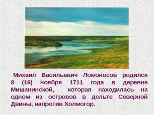 Михаил Васильевич Ломоносов родился 8 (19) ноября 1711 года в деревне Мишани