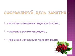 - история появления редиса в России , - строение растения редиса , - где и ка