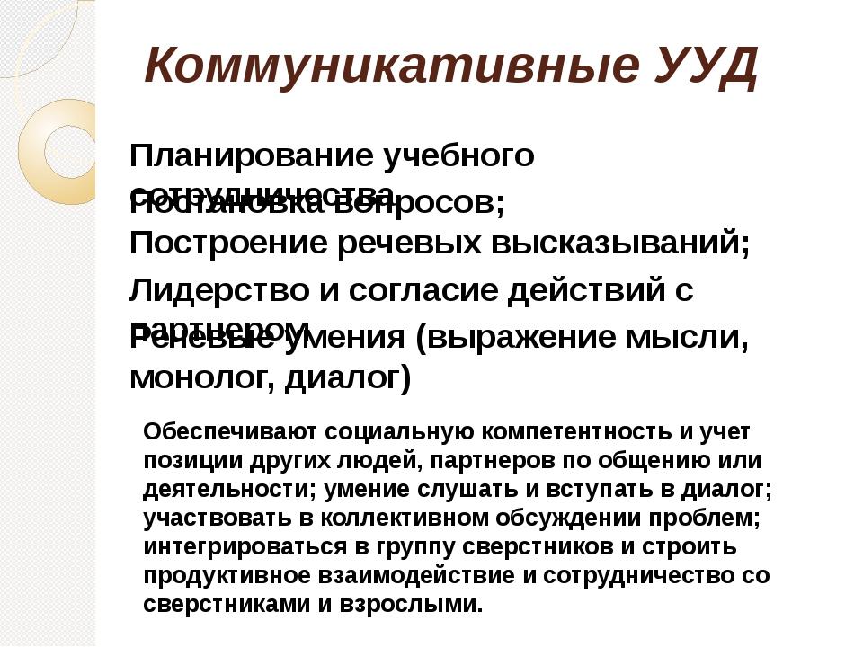 Коммуникативные УУД Планирование учебного сотрудничества Постановка вопросов;...