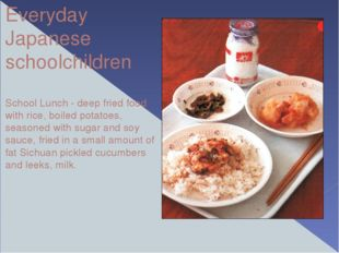 Everyday Japanese schoolchildren School Lunch - deep fried food with rice, bo