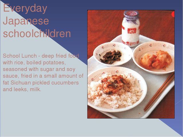 Everyday Japanese schoolchildren School Lunch - deep fried food with rice, bo...