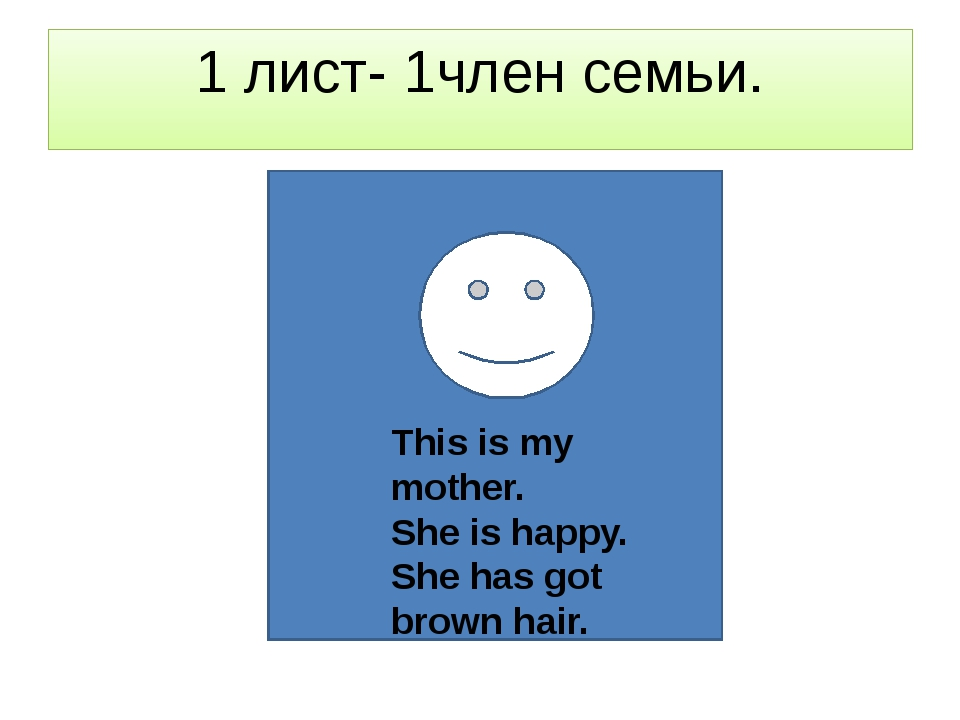 1 лист- 1член семьи. This is my mother. She is happy. She has got brown hair.