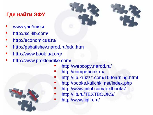 Где найти ЭФУ www учебники http://sci-lib.com/ http://economicus.ru/ http://p...