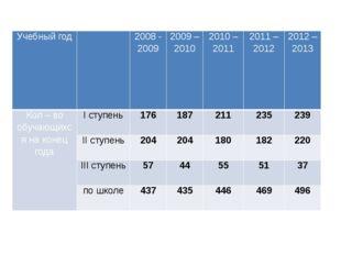 Учебный год  2008 - 2009 2009 – 2010 2010 – 2011 2011 – 2012  2012 – 2013