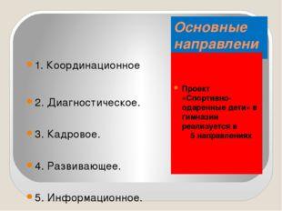 Основные направления реализации проекта Проект «Спортивно-одаренные дети» в г