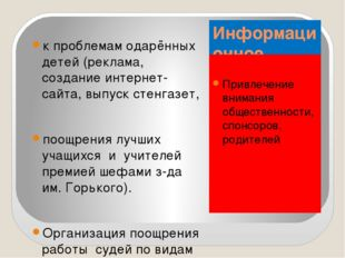 Информационное направление: Привлечение внимания общественности, спонсоров, р