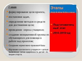 Этапы реализации проекта Подготовительный этап 2014-2015год 1 этап формулиров