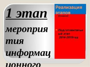 Реализация этапов Основной Подготовительный этап 2014-2015год 1 этап мероприя