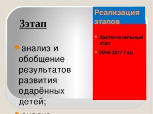 Реализация этапов Заключительный этап 2016-2017 год 3этап анализ и обобщение