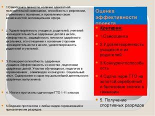 Оценка эффективности проекта Критерии: 1.Самооценка 2.Удовлетворенность учащи