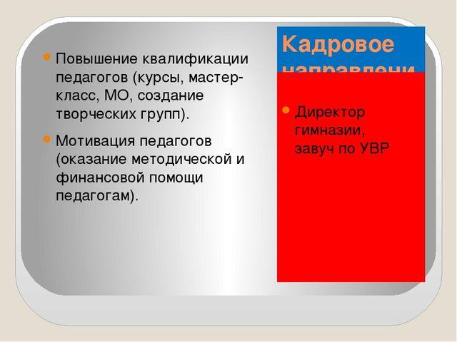 Кадровое направление: Директор гимназии, завуч по УВР Повышение квалификации...