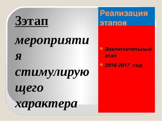Реализация этапов Заключительный этап 2016-2017 год 3этап мероприятия стимули...
