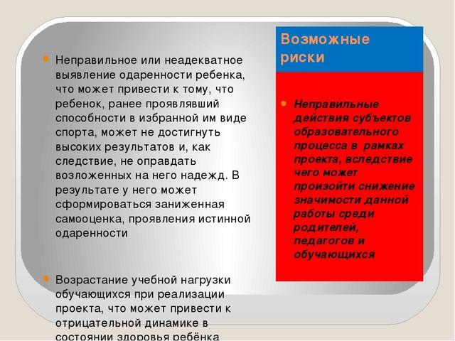 Возможные риски Неправильные действия субъектов образовательного процесса в р...