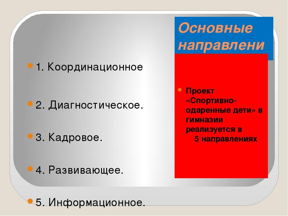 Основные направления реализации проекта Проект «Спортивно-одаренные дети» в г...