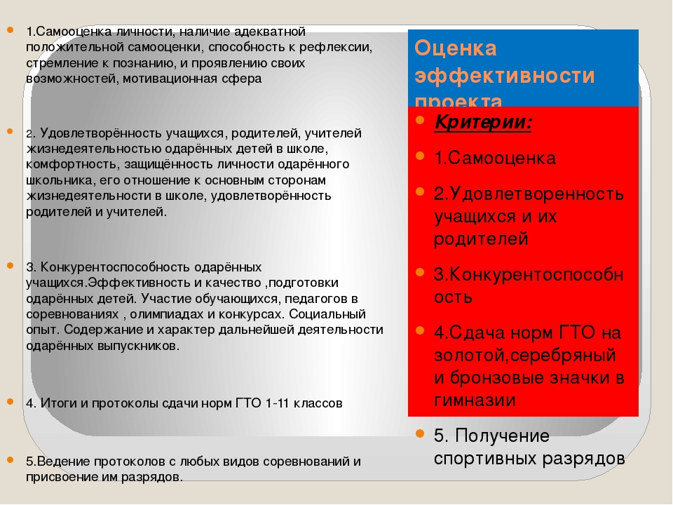 Оценка эффективности проекта Критерии: 1.Самооценка 2.Удовлетворенность учащи...