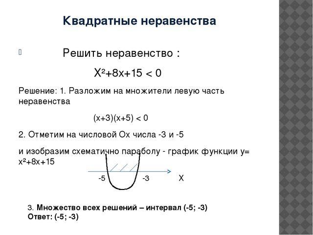 Квадратные неравенства Решить неравенство : Х²+8х+15 < 0 Решение: 1. Разложим...