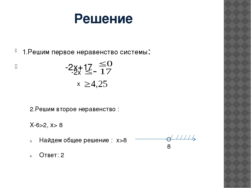 Решение 1.Решим первое неравенство системы: -2х+17 -2х х 2.Решим второе нера...