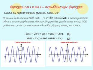 Функции cos t и sin t – периодические функции Основной период данных функций