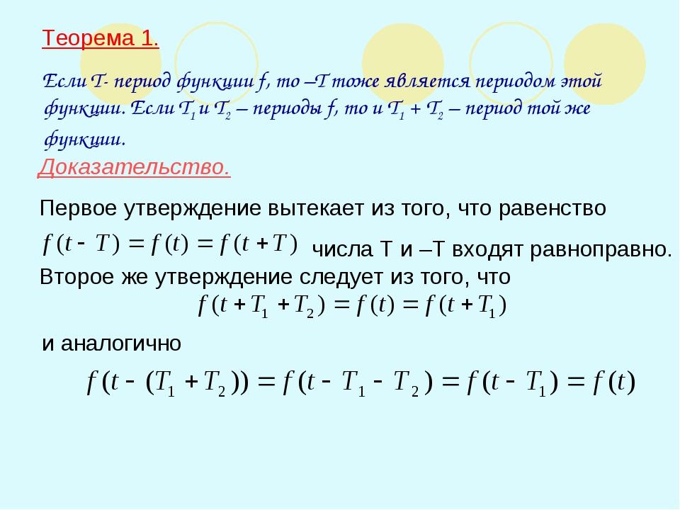 Теорема 1. Если T- период функции f, то –T тоже является периодом этой функци...