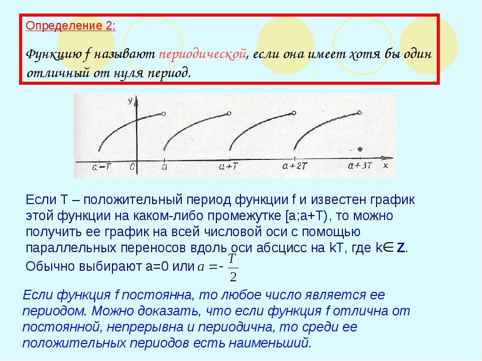Определение 2: Функцию f называют периодической, если она имеет хотя бы один...