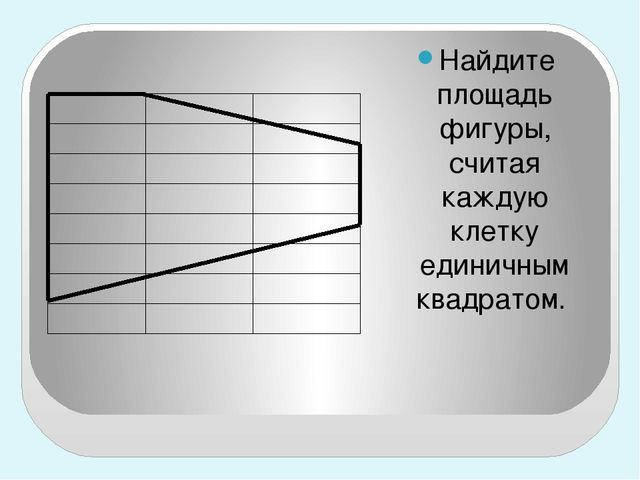 Найдите площадь фигуры, считая каждую клетку единичным квадратом.