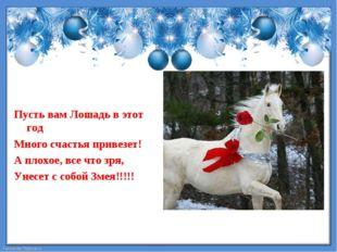 Пусть вам Лошадь в этот год  Много счастья привезет! А плохое, все что зря,