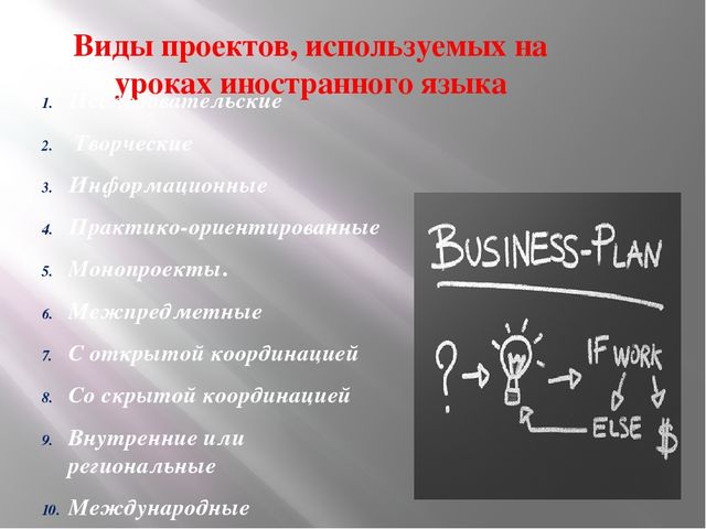 Виды проектов, используемых на уроках иностранного языка Исследовательские Тв...