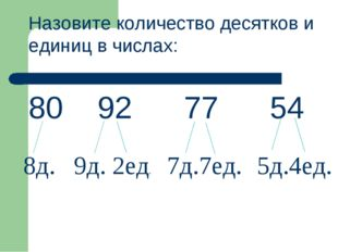 Назовите количество десятков и единиц в числах: 80 92 77 54 8д. 9д. 2ед. 7д.7