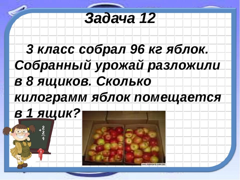 Задача 12 3 класс собрал 96 кг яблок. Собранный урожай разложили в 8 ящиков....