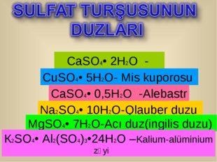 CaSO4• 2H2O - Gips CuSO4• 5H2O- Mis kuporosu CaSO4• 0,5H2O -Alebastr Na2SO4•