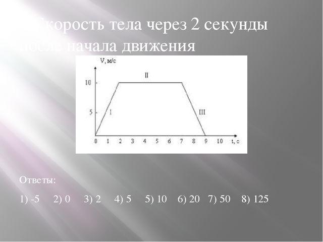 2.Скорость тела через 2 секунды после начала движения Ответы: 1) -5 2) 0 3) 2...