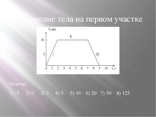 4.Ускорение тела на первом участке Ответы: 1) -5 2) 0 3) 2 4) 5 5) 10 6) 20 7...