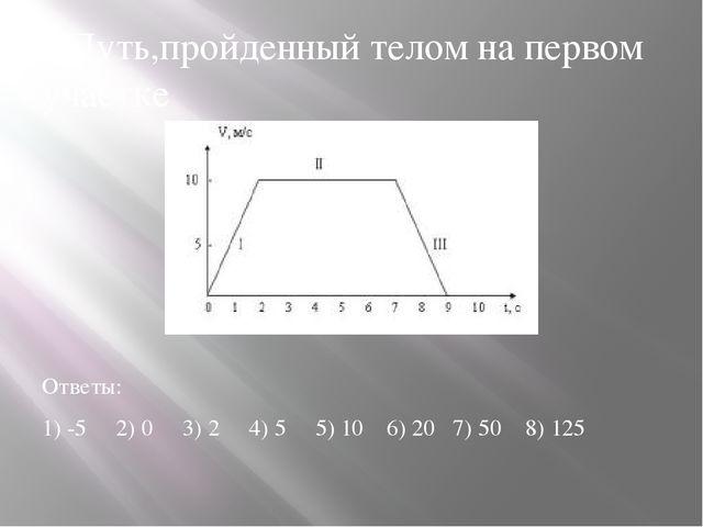 7.Путь,пройденный телом на первом участке Ответы: 1) -5 2) 0 3) 2 4) 5 5) 10...