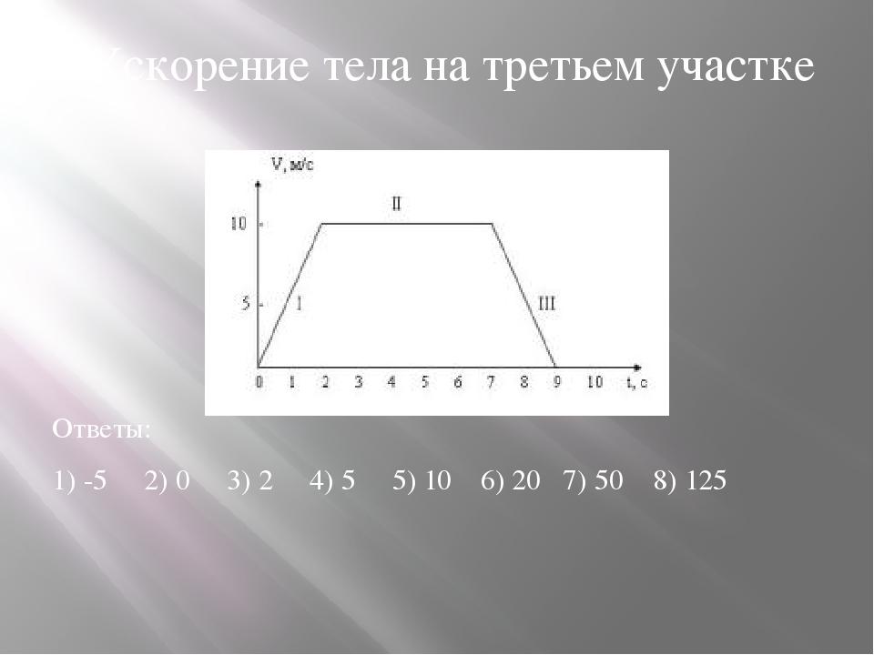 6.Ускорение тела на третьем участке Ответы: 1) -5 2) 0 3) 2 4) 5 5) 10 6) 20...
