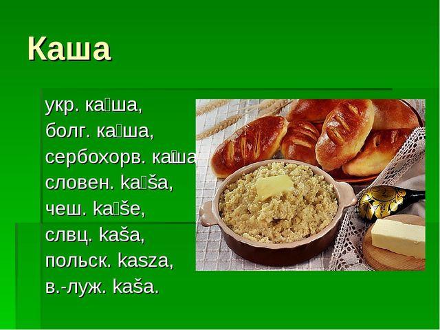 Каша укр. ка́ша, болг. ка́ша, сербохорв. ка̏ша, словен. káša, чеш. káše, сл...