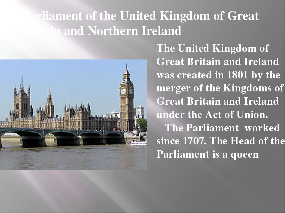 Parliament of the United Kingdom of Great Britain and Northern Ireland The Un...