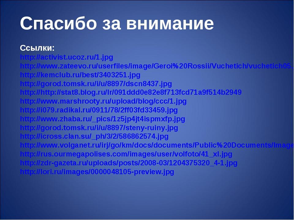 Спасибо за внимание Ссылки: http://activist.ucoz.ru/1.jpg http://www.zateevo....