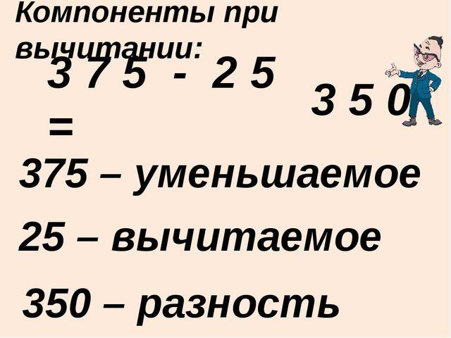 3 7 5 - 2 5 = 375 – уменьшаемое Компоненты при вычитании: 25 – вычитаемое 350...