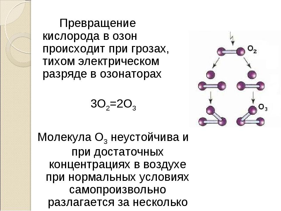 Превращение кислорода в озон происходит при грозах, тихом электрическом раз...