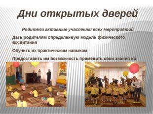 Дни открытых дверей Родители активные участники всех мероприятий Дать родител